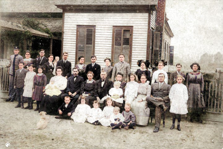"Keens and Guests at Reunion in Dudley circa 1914: back row left to right: in uniform, probably Clarence Smith, Aunt Burma Guest Melton, Wilkes Melton, Aunt Lowinda ""Cindy "" holding Doris, Uncle ""Max"" Mack Johnson, Aunt Georgia Hollamon Guest, Uncle Clayton ""Cecil"" Guest, Aunt Hattie Gilbert Guest, Uncle George Franklin ""Frank"" Guest, unknown woman & daughter, Luther Burns ""Brother Luther"" Word, Zinnie Lee ""Sister"" Keen Word  middle row: probably a Melton boy, Aunt Bell Guest, Evie Dell ""Pebbie"" Keen, Aunt Florence holding Rossie, Uncle Herman Guest, woman, John Wesley ""Grandpa"" Guest, Mary Leona ""Grandma"" Bush Guest holding Iris Keen, Lucile Keen, Nellie ""Grandmama"" Bashby Guest Keen, William Albert ""Granddaddy"" Keen, Willie Nell ""Bill"" Keen.  front row: Boy, Ruth Keen, Girl, Aunt Thelma Guest, boy, boy  The original of this photo measures 4 5/16 by 6 1/2 inches. Its condition is fair to good. It is in the possession of Demaris Bashby Keen Humphries in Turtle Cove, Georgia. Copies may be obtained at cost."