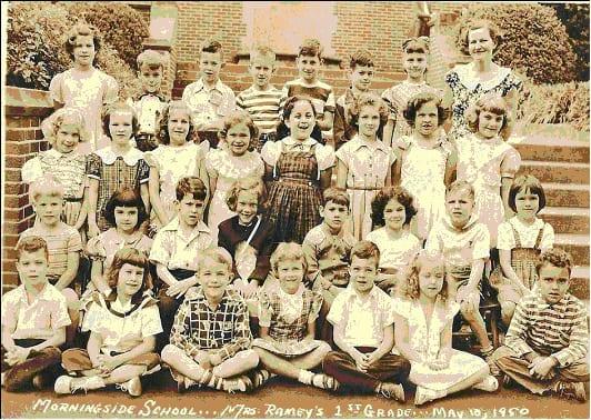 Mrs. Ramey's 1st grade: Row 1: UB, Joyce Stone, Charlie Creager, Marty Davis, UB, Dorothy Walker?, Mac McConnell. Row 2: Richard Ornstein, Trissy Morris, Bill Reynolds, UG, Freddy Clein, Vicki Taranto, UB, UG. Row 3: UG, Kay Blair, Sandra Shaffer, Judy Woodliff, Betty Neuhaus, UG, Harriet Maziar, Joy Woodard. Row 4: UG, UB, Jimmy Black, Carl Raushenberg, Stuart Eisenstat, Paul Rodbell, Diane Hall, Mrs. Ramey.