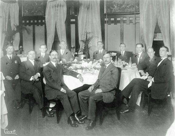 RETIREMENT OF MAYOR JOSEPH WILLIAM HUMPHRIES (1) Mayor Joseph William Humphries, (2) W. T. Aiken, (3) Mr. Adams, (4) Henry Coleman, (5) W. T. Dunn, (6) O. L. Carmical, (7) unknown, (8) L. T. Carter, (Eugene King, (10) unknown, (11) Judge John D. Humphries