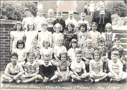 Miss. Murray's First Grade: Row 1: Stanley Mendel, UG, Al Cooley, Glenda Novak, Jon Kilgore, UG, Joe Segal.</br> Row 2: Karen Stovall, Bucky Crockett, UG, Johnny Glisson, Sandra Danneman, UB, Robin Lockett, Larry Barfield?.</br> Row 3: UG, Mildred Eidson, Betsy Brooks, Sue Pope, Carole Boyter, Delores Rosenberg, UG, Susan Christopher.</br> Ros 4: Kenny Horowitz, UB, Chris Brown, John Steele, Jimmy Jones, Paul Davis.