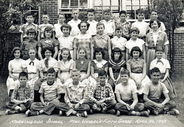 Mrs Weigel's 5th Grade: Row 1:(?), John Stephens, Coleman Owen(?), Ira Rachelson, David Guptil, Mac McConnell. Row 2: Sandra Danneman, Dorothy Walker, Vicki Taranto, Lenore Batelann, Sandra Shaffer, Faye Feinberg(?), Claudia Clark, (?), Demaris Humphries.  Row 3: Maurene Campbell, Melissa Scott, Lisa Moore, Diane (?), Charlotte Coan, (?), (?), Mrs Weigel. Row 4:(?), Lee Horn, Hal Hubbard, (?), John Steele, (?), Chester Parver, (?), Larry Taffel.
